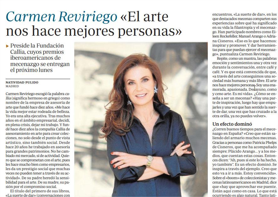 ABC. CARMEN REVIRIEGO, EL ARTE NOS HACE MEJORES PERSONAS