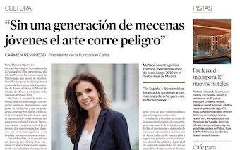 Expansión Cultura. Entrevista a Carmen Reviriego. Sin una generación de mecenas jóvenes el arte corre peligro